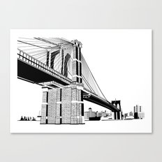 Brooklyn Bridge Black and White Canvas Print