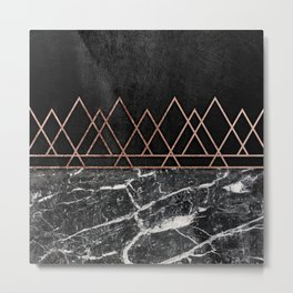 Elegant Rose Gold Triangles & Black & White Marble Metal Print