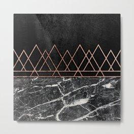 Elegant Rose Gold Triangles Black White Marble Metal Print