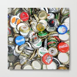 Bottle Caps Painting | Vintage Metal Print