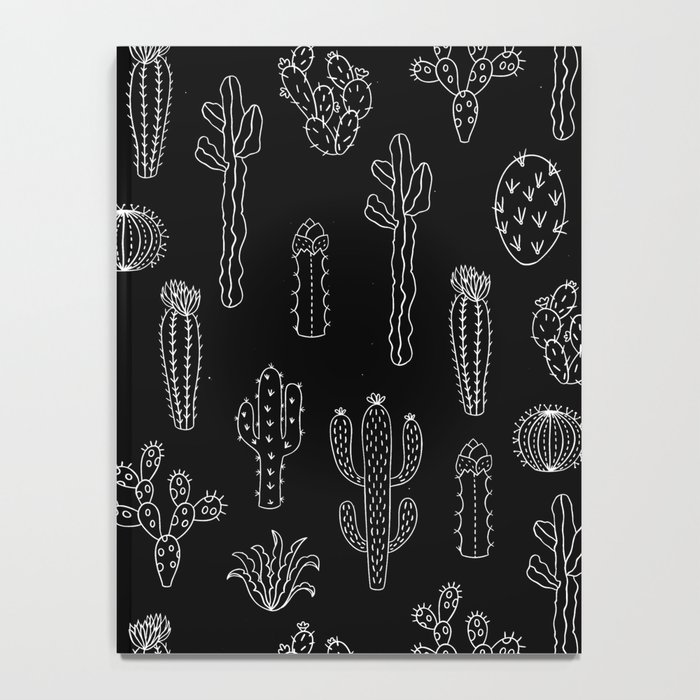 Cactus Silhouette White And Black Notebook