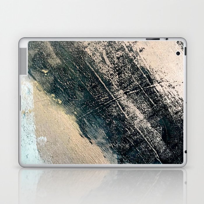 Honey 2: a pretty, minimal abstract mixed-media piece in blue, gold, and pink Laptop & iPad Skin