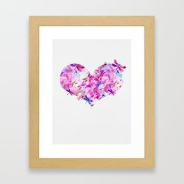 Dragonfly Heart- Pink and Blue Framed Art Print