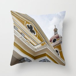Looking up at the Exterior of the Yellow Granada Cathedral in Downtown Granada, Nicaragua Throw Pillow