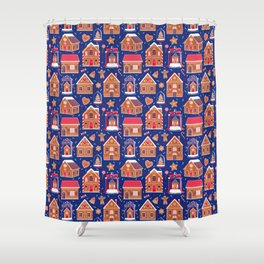 Gingerbread Houses and Sweets Candies - Blue Shower Curtain