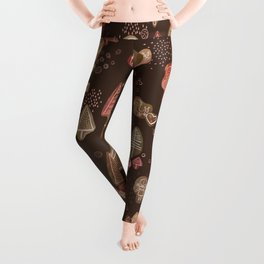 Hansel and Gretel Fairy Tale Gingerbread Pattern on Brown Leggings