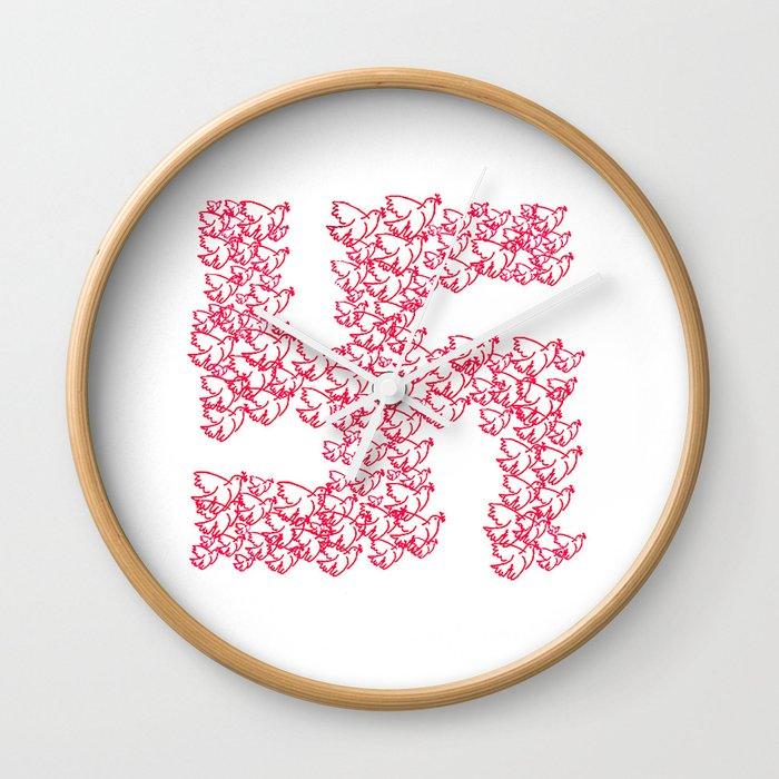 Swastika With Birds Of Peace Symbol Wall Clock By Danflcreativo