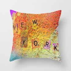 New York Map Throw Pillow