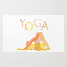 Yoga poses- people doing yoga silhouette- yoga lover Rug