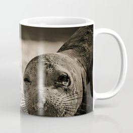 Elephant seal face close up in sepia tone Coffee Mug