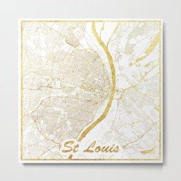 St Louis Map Gold Metal Print