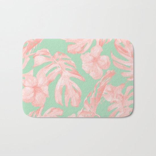 Tropical Palm Leaves Hibiscus Pink Mint Green Bath Mat