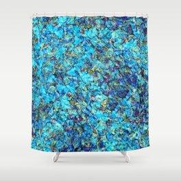 Turquoise Pebble Pool Ripple Shower Curtain