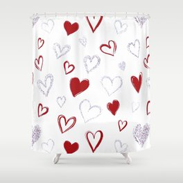 Red & Glitter Hearts Shower Curtain
