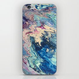 Blue swirl pour painting, Bohemian Style painting iPhone Skin