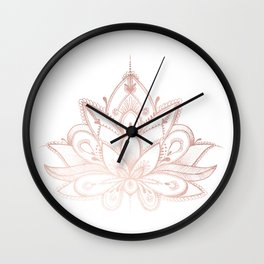 Boho Lotus Rose Gold Wall Clock
