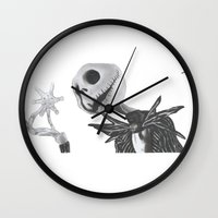 jack skellington Wall Clocks featuring Jack Skellington by DΔZΞD.