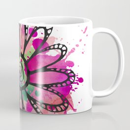 GC031-1 Colorful watercolor doodle flower pink and green Coffee Mug