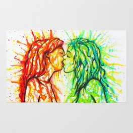 Sexual Energy - Erotic Art Illustration Nude Sex Sexual Love Lovers Relationship Lesbian Couple LGBT Rug