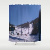 skiing Shower Curtains featuring skiing place by westchestrian_art