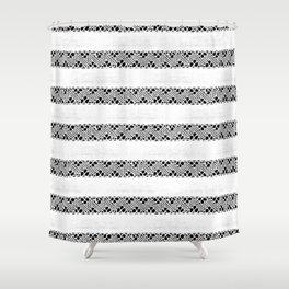 Stripes of antique rustic lace Shower Curtain
