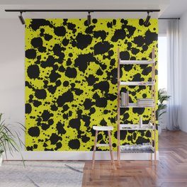 Bright Yellow and Black Funny Leopard Style Paint Splash Pattern Wall Mural