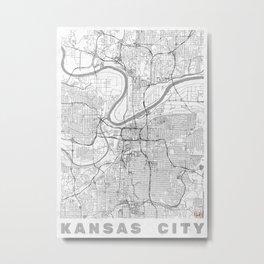Kansas City Map Line Metal Print