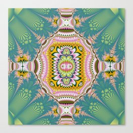 Abstract with tribal floral patterns in blue, green, pink & yellow Canvas Print