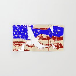 AMERICANA FLAG & WHITE EAGLES FROM  SOCIETY6 BY SHARLESART. Hand & Bath Towel