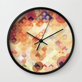 geometric square pixel and circle pattern abstract in orange brown Wall Clock
