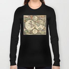 Old map of world (both hemispheres) Long Sleeve T-shirt
