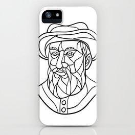 Ferdinand Magellan Mosaic Black and White iPhone Case