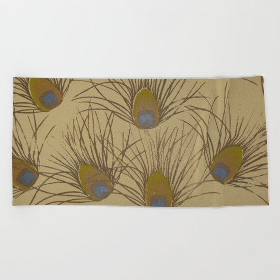 Peacock Screenprint Beach Towel