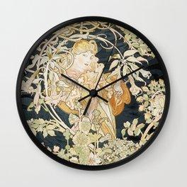 1898 Femme A Marguerite Alphonse Mucha Wall Clock