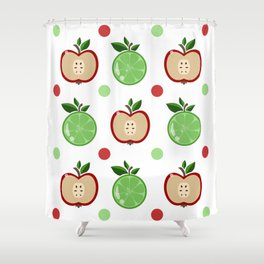 Apples and Lime Shower Curtain