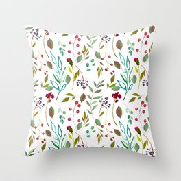 autumn winter berries watercolor pattern Throw Pillow