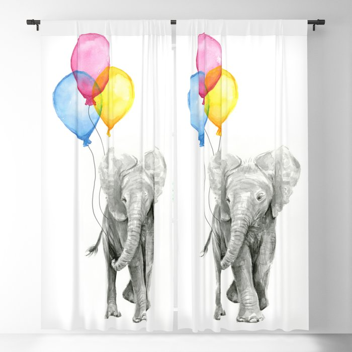 Baby Elephant With Balloons Nursery Animals Prints Whimsical Animal Blackout Curtain By Olechka