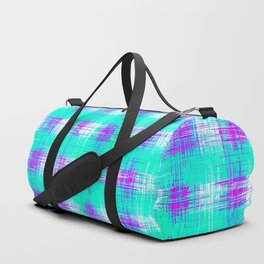 plaid pattern graffiti painting abstract in blue green and pink Duffle Bag