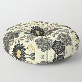 Gray, Black, Cream, Yellow & Red Sophisticated Floral Pattern Floor Pillow