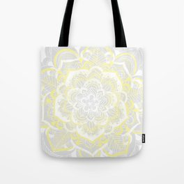 Woven Fantasy - Yellow, Grey & White Mandala Tote Bag