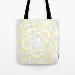 Woven Fantasy - Yellow, Grey & White Mandala Tote Bag