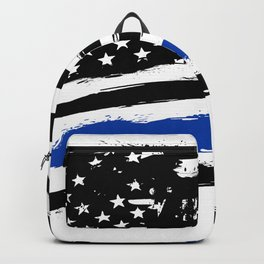 Thin blue line US flag. Flag with Police Blue Line - Distressed american flag. Backpack