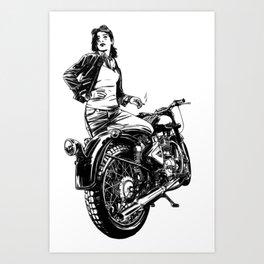 Woman Motorcycle Rider Art Print