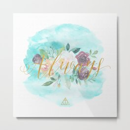 Always - Floral Letterpress/Gold Metal Print