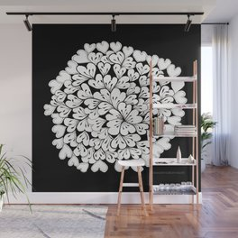 Hearts and Flowers Zentangle black and white illustration Wall Mural