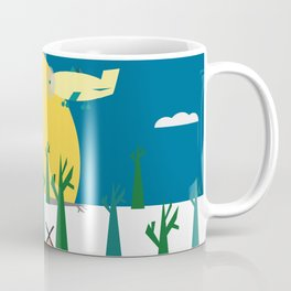 Bears in the forest and an airplane Coffee Mug