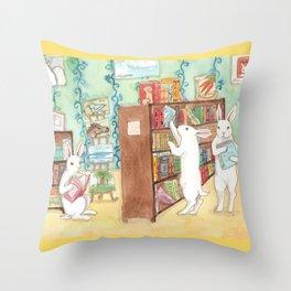 Bookstore Bunnies Throw Pillow