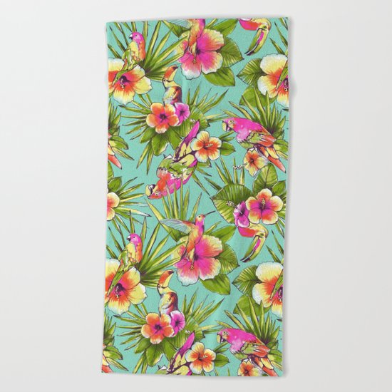 Tropical flowers with parrots Beach Towel