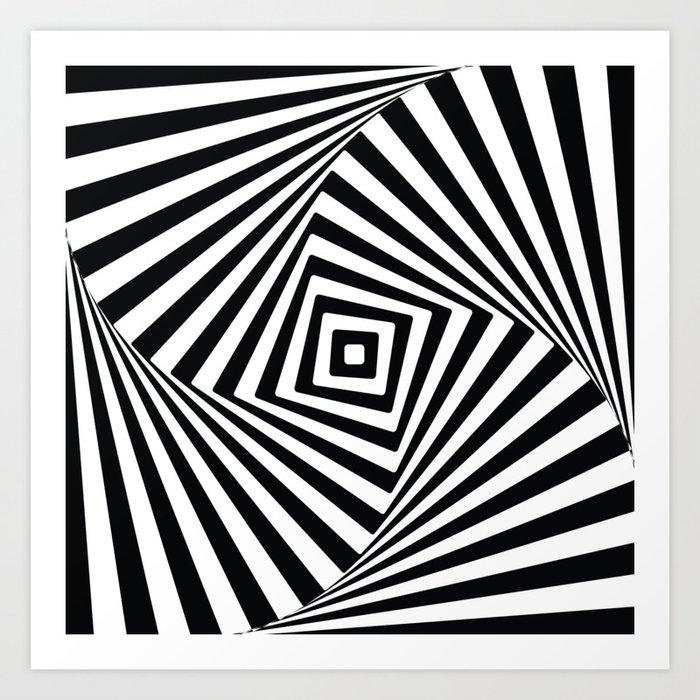 Modern black and white geometric optical illusion art print