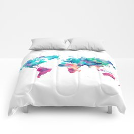 World Map Turquoise Pink Blue Green Comforters